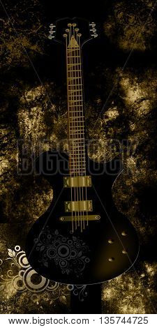 Beautiful vintage,grunge gold illustration of electrical guitar
