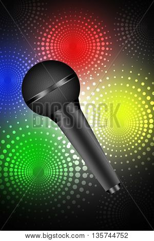 Microphone isolated on disco background