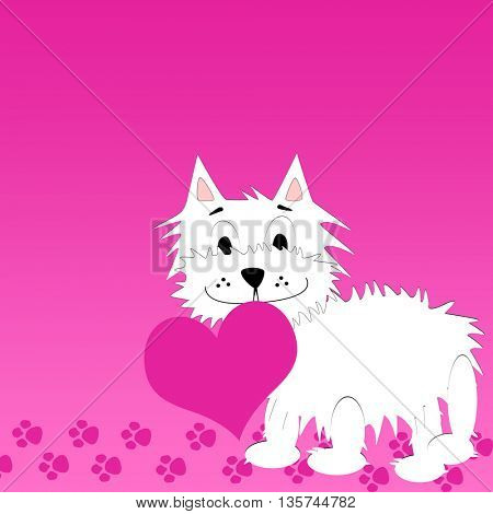 Love background with very cute puppy holding a heart