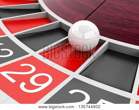 3d renderer image. Casino roulette wheel with ball on number 29. Gambling games.