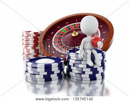 3d renderer image. White people with casino roulette wheel chips and dice. Gambling games. Isolated white background.
