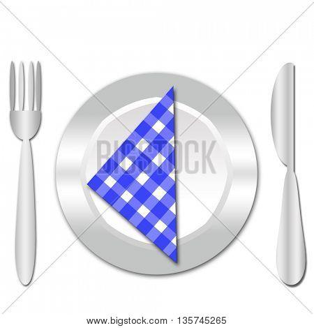 dinner plate , knife and fork
