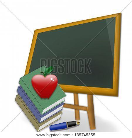 school concept - red heart shape  apple on  textbook against blackboard in class.
