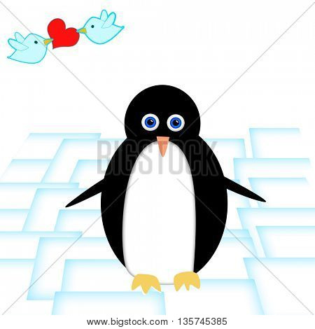 Love Card with penguin