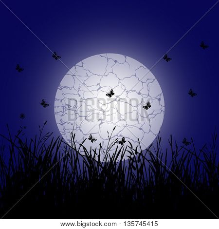 Silhouette of a snail crawling along a branch plant in the meadow and full moon