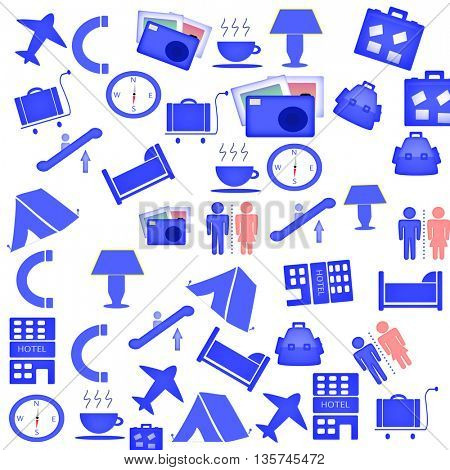 stylish icon set of tourism and traveling objects