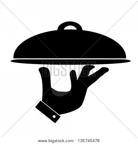 Silhouette of hand holding serving tray