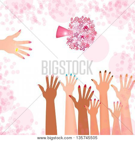 Bridal hand with golden ring throwing wedding bouquet