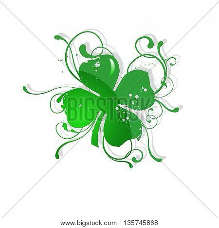 Four leaf clover isolated on white- illustration for St. Patrick's day