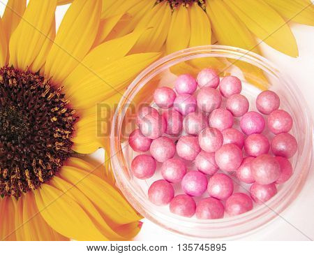Pink blush and soft sunflowers-beauty concept