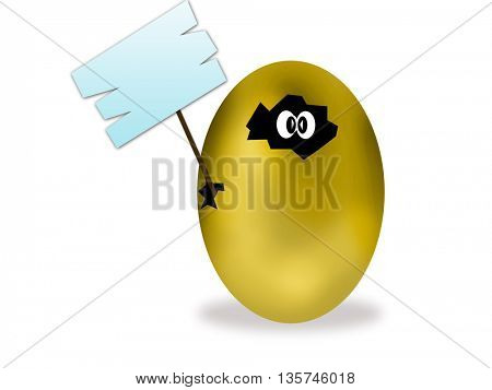 Easter eggs gold holding empty sign with place for text