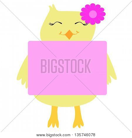 cute chicken with empty board and place for text