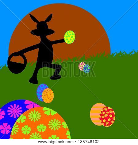 silhouette OF RABBIT collected easter eggs