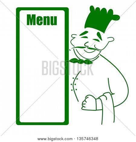Cartoon chef holding menu