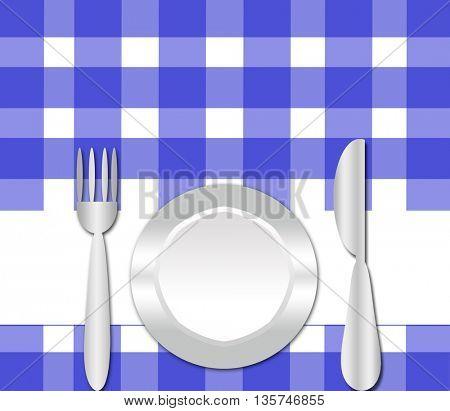 dinner plate , knife and fork- branch  invitation