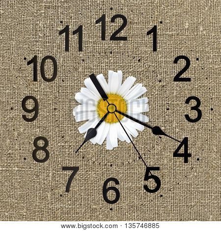 rustic clock on linen canvas fabric and daisy for background