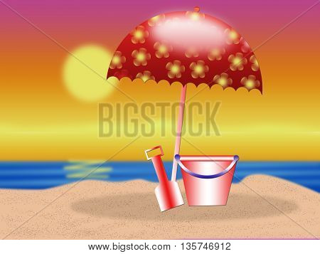 summer season - sunset on the beach