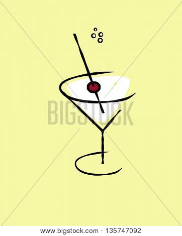 illustration of martini with cherry in it