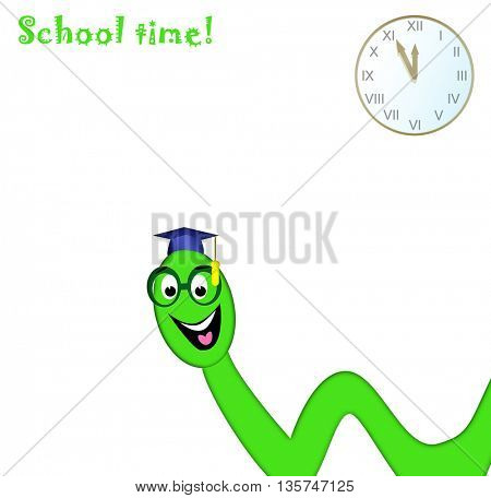 School time-college worm and clock and place for text