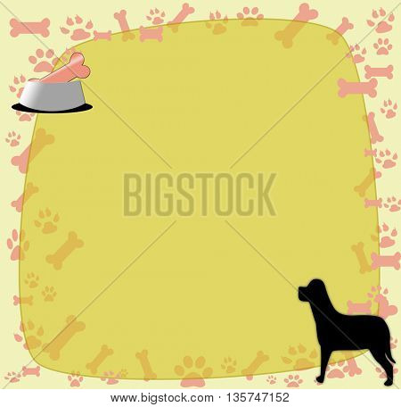 Dog with Pet Food- with place for text
