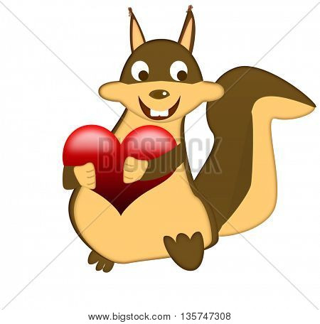Happy squirrel holding a heart