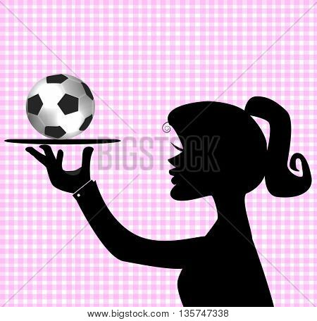 Silhouette of a female soccer player holding a ball