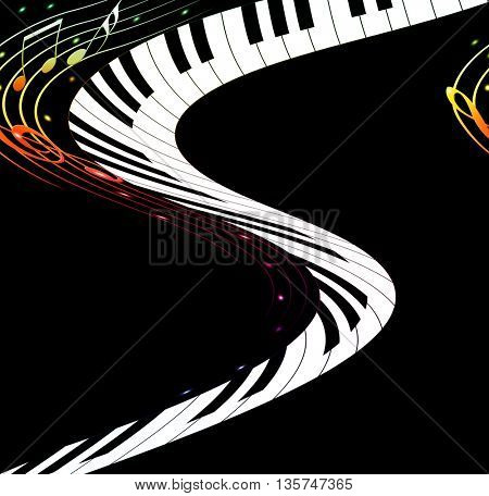 Music text frame with notes and piano keys