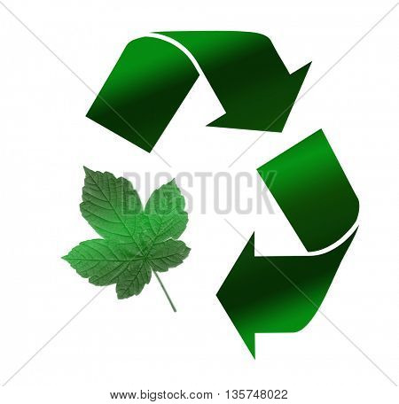 Recycle Symbol, Isolated On White Background with green leaf shape