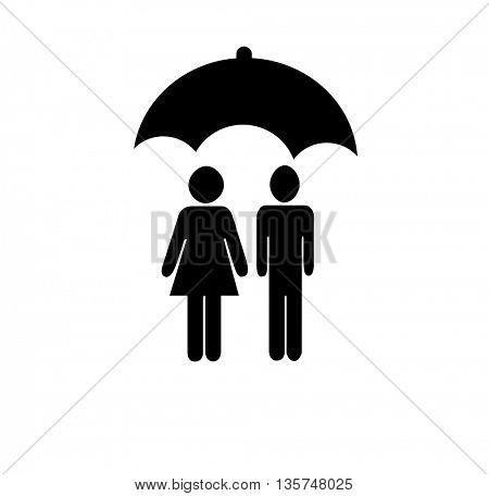 women and men under the umbrella icon