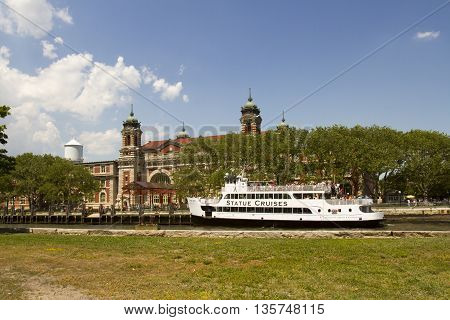 Elis Island With Statue Cruises Ferry Boat