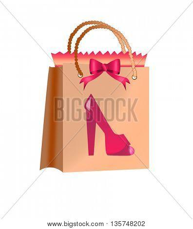 women shoes and shopping bag