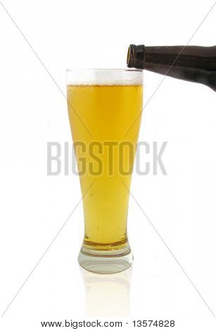 A photo of a woman pouring beer
