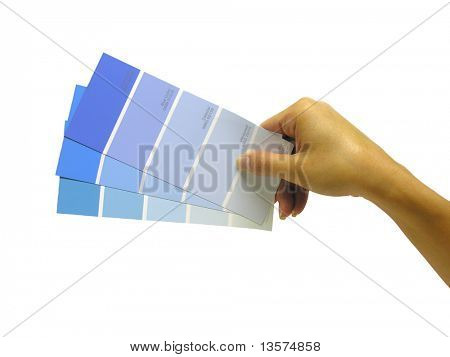 A photo of a woman holding paint swatches