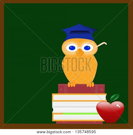 Wise  owl in front of blackboard on books and apple