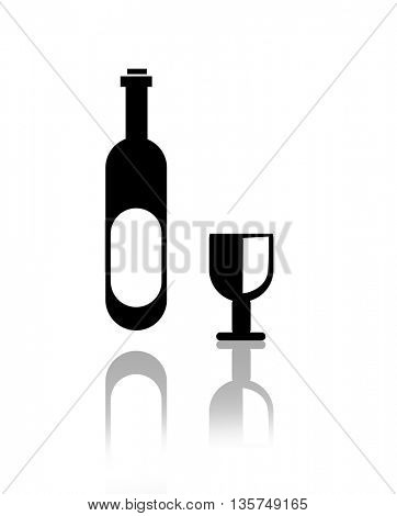 Elegant  wine glass and a wine bottles