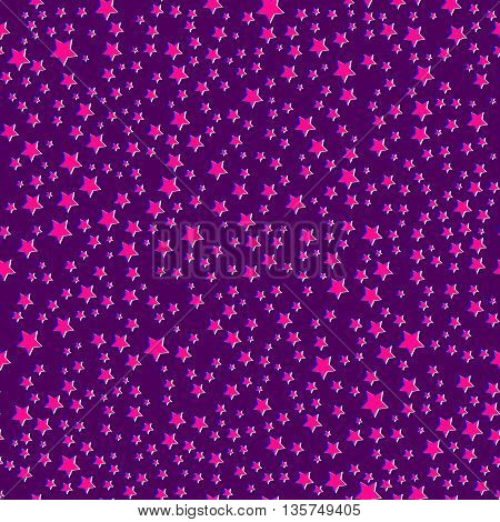 Abstract seamless astronomy wallpaper with shiny stars on the night sky. Purple background with pink stars. Vector illustration. Easy editable.
