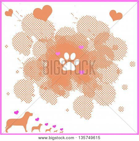 love for pets-illustration with paw,hearts and dogs
