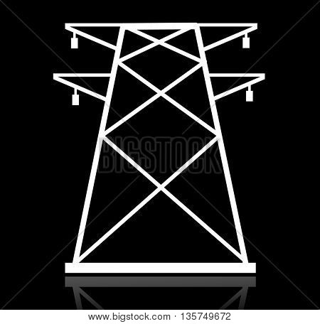 High voltage power lines silhouette