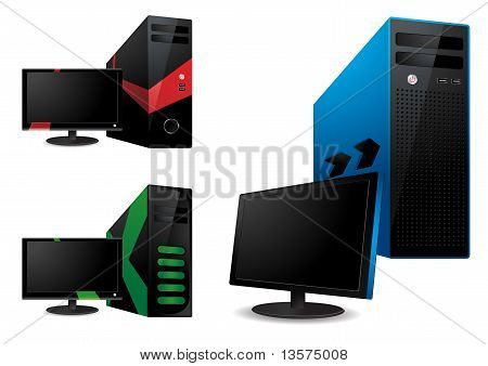 Computer And Lcd Monitor - Vector Illustration