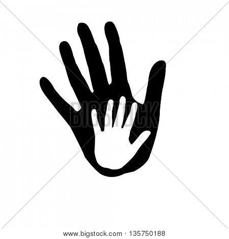 Caring hand, Giving hand to a child, concept illustration