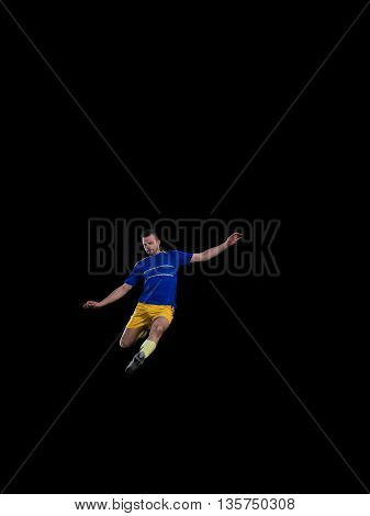 soccer professional player in blue uniform kicking on training isolated