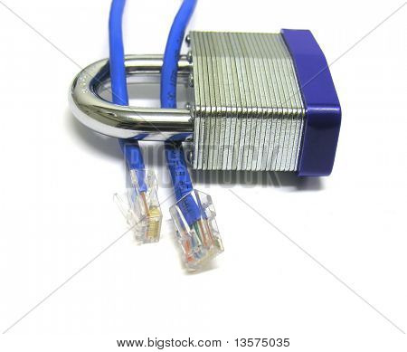 A photo of network cable through a lock