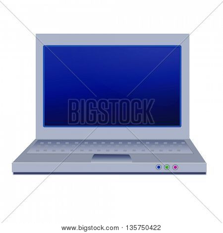 notebook-laptop with reflection on white background