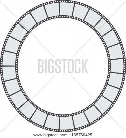 Blank old  film strip in round shape