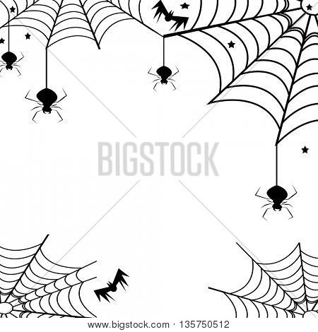 spiders and webs over white background