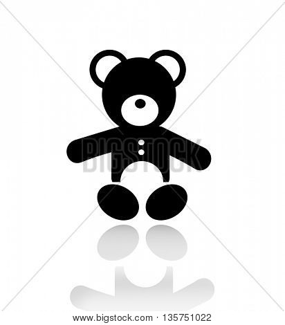 silhouette of a teddy bear isolated on white background with reflection on  a background