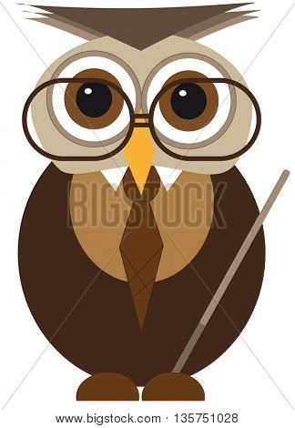 cute owl with glasses isolated on white background