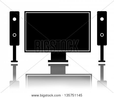 TV set with a blank screen. LCD tv screen with reflection, home theater