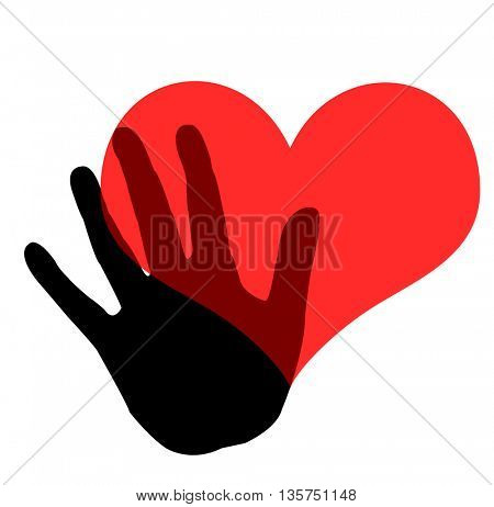 hand holding a heart icon