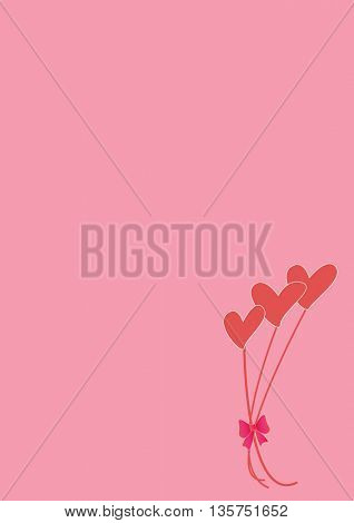 love background with bouquet of hearts and with place for text